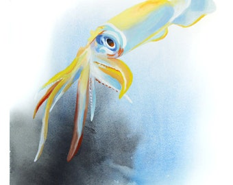 Squid Gouache / Watercolor Art Print, wildlife painting, sea life art, squid wall art, ocean decor, octopus fine art, tentacles