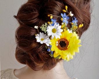 sunflower hair clip, sunflower hair comb, daisy hair clip, sunflower wedding, bridal headpiece, floral hair clip, yellow flower headpiece