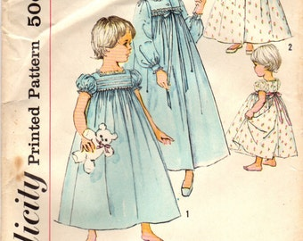 1950s Simplicity 2784 Vintage Sewing Pattern Toddler's Peignoir Set Nightgown Robe Size 2