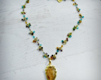 Tribe - Citrine Arrowhead Gemstone 24k Gold Necklace - Statement Necklace - BOHO Chic - Natural Gems -  Haute Fashion - READY to Ship