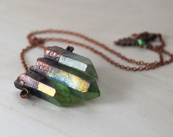 Green Forest Aura Crystal Trio Necklace   Green Crystal Necklace   Copper Electroformed Pendant   Nature Jewelry   Crystal Quartz Necklace