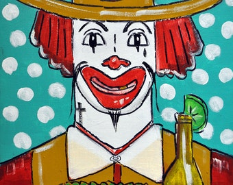 "Ronaldo McTaco- Original Latin Pop Parody Painting, 12"" x 16"""