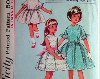 "Vintage 60's Simplicity Sewing Pattern, Girls' One-Piece Dress and Dress for 12 "" Tammy Doll, Size 4, 23 Breast, Party/Formal Dress"