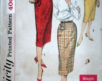 Vintage 50's Sewing Pattern, Simplicity 2655 Misses' Sheath Skirts, Waist 26, Hip 36, Simple to Make