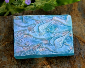 Sea and Sky M.C. Escher soap - ocean-blue birds & fishes olive oil soap