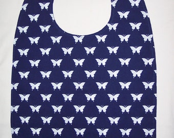 ADULT BIB Reversible White Butterfies  on Blue