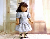 1900s Easter Dress with Lace and Matching Hairbow, fits American Girl Samantha Doll
