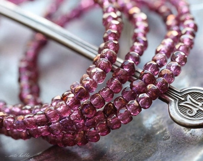 sale .. BRONZED PLUM BITS .. 50 Premium Czech Glass Rondelle Beads 2x3mm (4887-st)