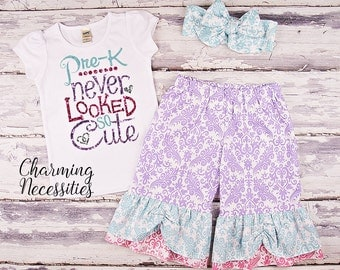 Back To School Outfit, Toddler Girl Clothes, Glitter Top and Ruffle Pants in PreK Never Looked So Cute PASTEL Prechool Trendy