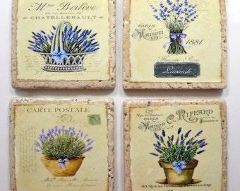 Travertine Tile Coaster Set  French Lavender Provence