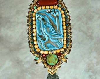 Necklace, Bead Embroidered Necklace, Raven, Blue, Porcelain,  Carnelian, Turquoise, handmade, one-of-a-kind, beaded
