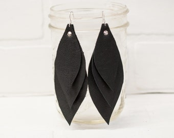 recycled, leather feather earrings, leaf earrings, boho earrings, earrings, dangle earrings, black earrings, tassel earrings, stacylynnc