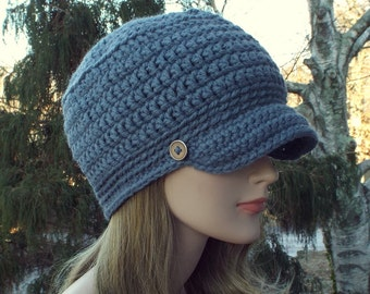 Blue Gray Cadet Hat, Womens Military Cap with Metal Buttons, Crochet Hat with Visor, Hats for Women, Gift for Her