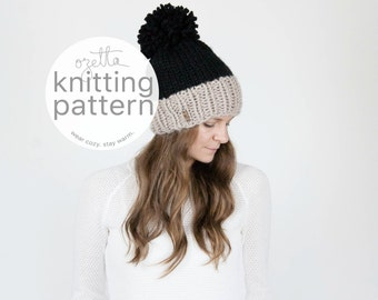 Knitting Pattern / Two-Tone Knit Hat With Pom Pom / THE SYLVAN Hat