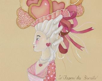Valentine's Day Gift Hearts Art Painting Baking Art Cookie Art Dessert Art Marie Antoinette 5x7 watercolor painting
