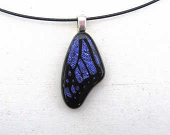 Butterfly Wing | Insect Necklace | Glass Jewelry | Purple Pendant | Fused Glass Design | Butterfly Charm | Dainty Small Simple | Violet
