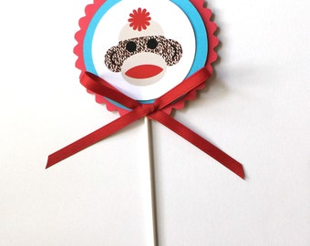 Sock Monkey Cake Topper - Birthday Decoration - Red and Lunar Blue or Your Choice of Colors
