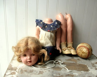 Vintage composition doll Shirley Temple style doll 19 inch as is UNSTRUNG parts dressed 16 inch K15