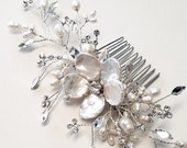 Pearl Hair Vine with Keishi Pearls Flowers, Rhinestone Hair Comb, Wedding Hair Accessory, Ready to Ship