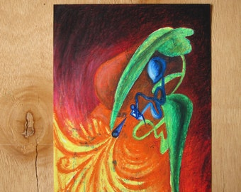 When Light Doesn't Go In Straight Lines - original oil pastel drawing