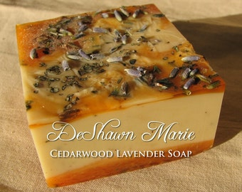 SOAP- Cedarwood Lavender Soap - Vegan Soap - Soap Gift - Wedding Favors - Soap for men - Birthday Gift - Christmas Gift - Father's Day Gift