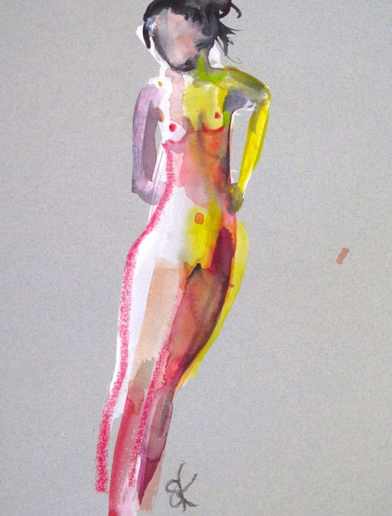 Nude painting- One minute pose 89.4 Original watercolor painting by Gretchen Kelly