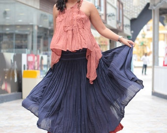 Sweet spot...2 layers full maxi skirt...Linen/cotton  Colour No.9/No.3 M,L,XL
