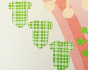 Baby Shower Die Cut Onesie Green Confetti Table Decor Card Scrapbook Embellishment Cupcake Topper Craft Supply Sticker Envelope Seal Invite