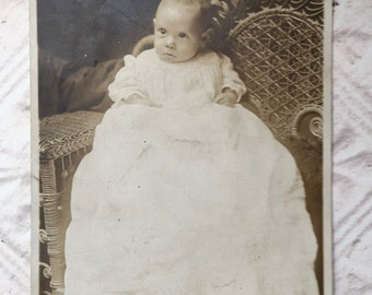 Antique Baby Photo Black and White Circa 1913 Photograph Child in Wicker Chair Picture Instant Relative Junk Journal Mixed Media Supplies