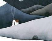 The Quiet of the Night - Archival 8x10 Art Print - Winter Landscape Painting, Blue, Grey - by Natasha Newton