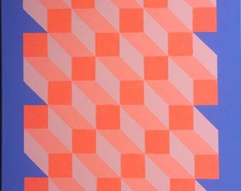 Geometric Perspective Original Canvas Painting