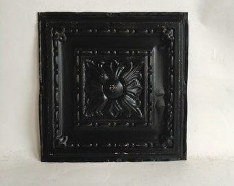 "AUTHENTIC 1890's Tin Ceiling Tile Panel Black 12""x 12"" Arts and Crafts  RECLAIMED 147-16"