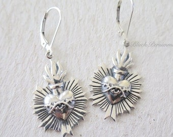 Sacred Flaming Heart with Thorns Earrings - SSolid 925 Sterling Silver - Insurance Included