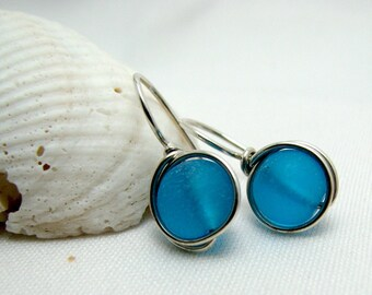 Bahama Blue Sea Glass Sterling Silver Wire Wrapped Earrings