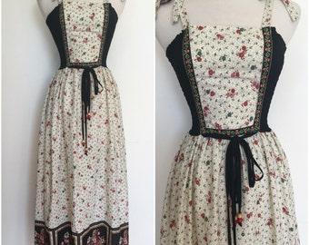 1970s Hippie Boho Smocked Maxi Dress