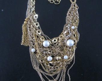 All That Glitters - Statement Bib Necklace -  Tangled Vintage Chains Gold and Crystal