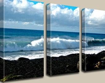 Lava, Ocean, Black Sand Beach, Photography, Coastal, Nautical, Canvas Art, Volcano, Waves, Clouds, Coastline, Kalapana, Hawaii, Triptych