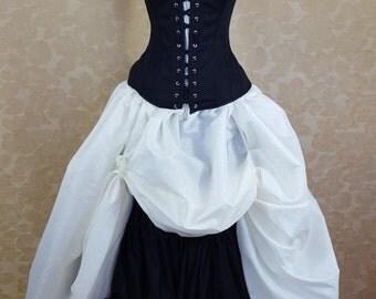 Cream Geometric Circle Print Super Volume Full Length Bustle Skirt-One Size Fits All