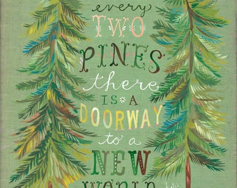 Two Pines Print | Forest Painting | Watercolor Wall Art | John Muir Quote | Katie Daisy |  8x10 11x14
