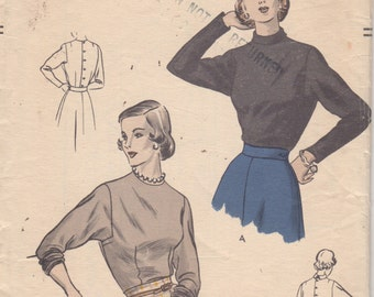 1940s Vogue 6514 Misses Back Button Blouse Pattern Squared Armholes Easy Womens Vintage Sewing Size 16 Bust 34