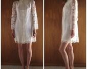 1960s ROSEMARY'S BABY Joseph Magnin white Lace mini dress, small