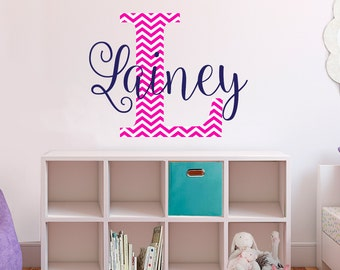 name / initial wall decals - chevron high quality fabric vinyl decal - choose any colors you like repositionable wall decal