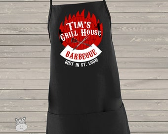 Best barbecue apron personalized adult custom BLACK apron - great for Father's Day gift MA1-006v