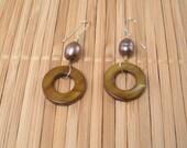 Brown Pearl Hoop Earrings Long Earrings Big Hoops Brown Earrings Big Pearl Dangles Shimmery Dangles Chocolate Pearl Earrings Resort Wear