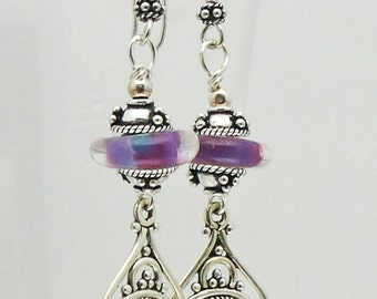 Purple Copper Turquoise and Sterling Silver Earrings