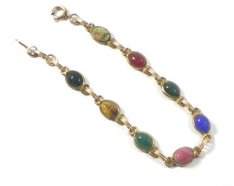 Scarab Bracelet - Egyptian Revival Bracelet - Gemstone Bracelet - Midcentury  Bracelet - 1/20 12K GF Bracelet - Vintage Jewelry