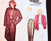 Vogue Paris Original Pattern, 1980s Claude Montana, Loose Below Hip Jacket, Top, High Waisted Pants, Sewing Pattern, Size 12 Bust 34, UNCUT