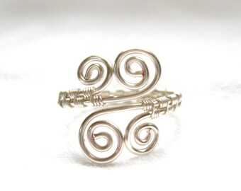 Silver Swirl Adjustable Ring