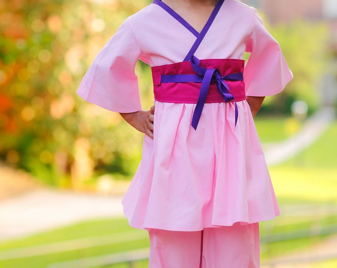 Princess Mulan - Pink Outfit - Little Girl Clothes - Birthday Outfit Girl - Toddler Boutique - Photo Prop - sizes 2T to 7 years