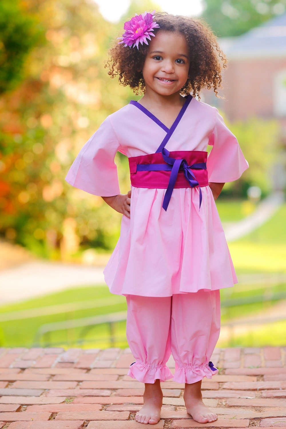 Princess Mulan Pink Outfit Little Girl Clothes Birthday